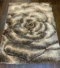 Rugs Approx 6x4Ft 120x160CM Carved 3D Design Top Quality Brown-Beige Rugs Woven